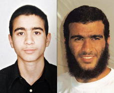 Omar Khadr, photographed before his capture, and in 2009.
