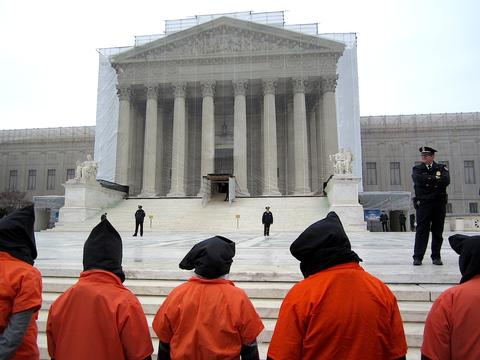 Protestors against the continued existence of Guantánamo outside the Supreme Court on January 11, 2013