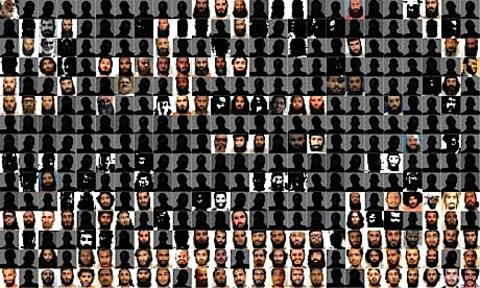 Faces of the Guantánamo prisoners.