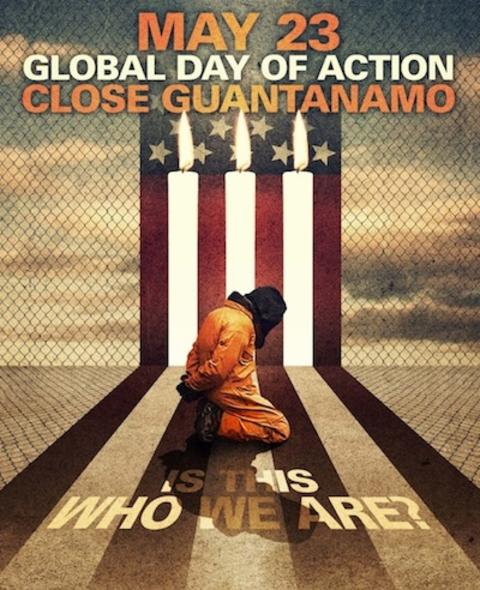 Poster for the day of action for Guantanamo, May 23, 2014