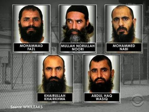 The five Taliban prisoners released from Guantanao in a prisoner exchange on May 31, 2014.