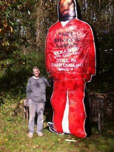 Cliver Stafford Smith with the giant inflatable figure of Shaker Aamer.