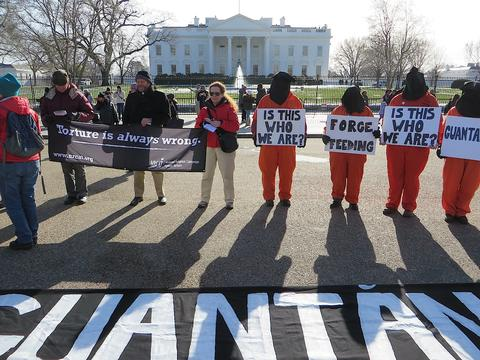 Campaigners for the closure of Guantanamo outside the White House on January 11, 2015