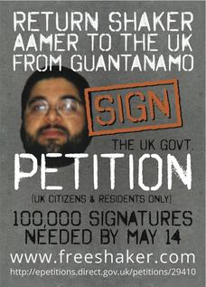 The front of the flyer produced for the e-petition designed to secure the return of British resident Shaker Aamer to the UK from Guantanamo.